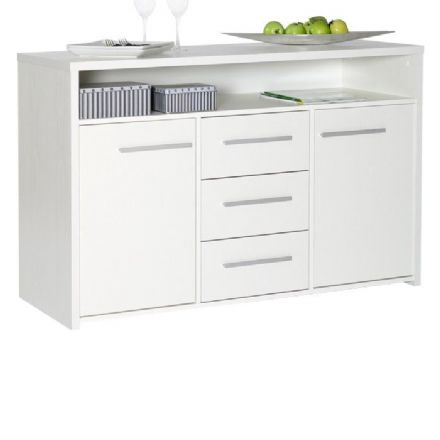 White Designer 3 Drawer 2 Door Sideboard
